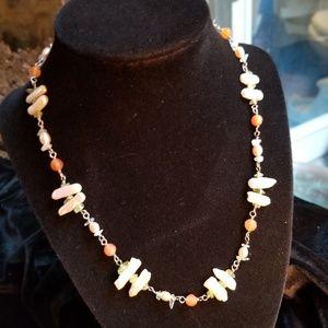 Freshwater Pearl, Quartz & Carnelian Necklace EUC